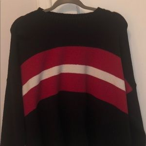 black red and white striped sweater